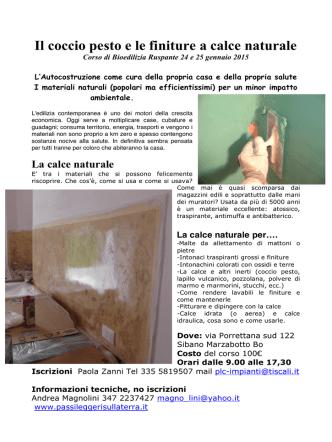 Corso Bioedilizia Ruspante Sibano 2014