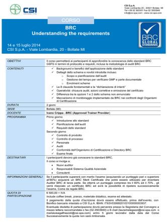 CORSO BRC Understanding the requirements