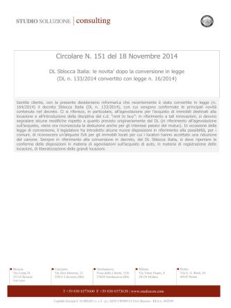 Circolare N. 151 del 18 Novembre 2014
