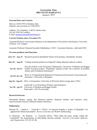 Curriculum Vitae BRUNETTI MARIANNA July 2014