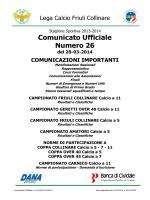 Comunicato Ufficiale nr. 26 del 20/03/2014