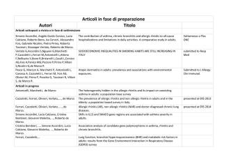 Articoli in fase di preparazione Autori Titolo