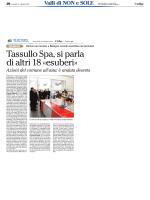 Tassullo Spa, si parla di altri 18 «esuberi»