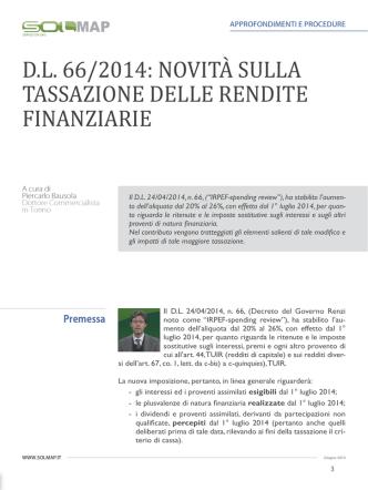 D.L. 66/2014: NOVITÀ SULLA TASSAZIONE DELLE