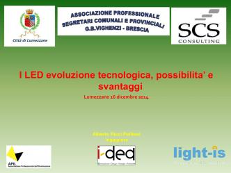 Alberto Ricci Petitoni: I LED evoluzione tecnologica