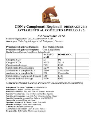CDN e Campionati Regionali DRESSAGE 2014
