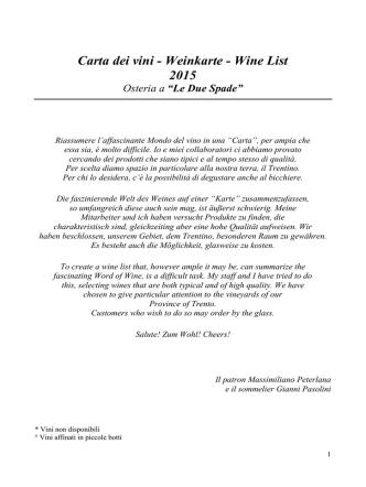 Carta dei vini - Weinkarte - Wine List