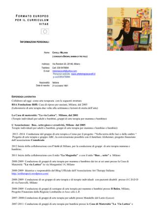curriculum vitae - Melania Cavalli arteterapia Milano