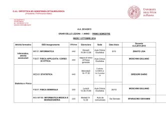 C.d.L. ORTOTTICA ED ASSISTENZA OFTALMOLOGICA