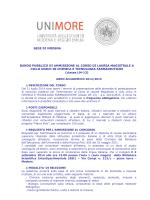 Bando di ammissione Corso di Laurea in Chimica e Tecnologia