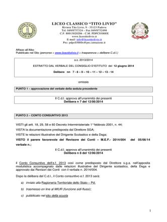 Delibere del 12 giugno 2014