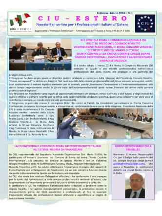 27.03.2014 News Letter CIU - Delgazioni Estero Febbraio