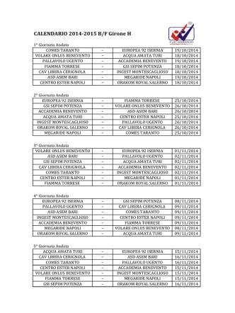 CALENDARIO 2014-2015 B/F Girone H
