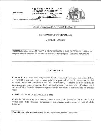 4664 23092014 provv n 1888 del 2014 fornitura mepa di 1 holter