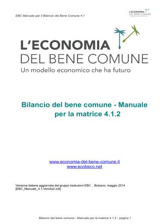 Bilancio del bene comune - Manuale per la matrice 4.1.2