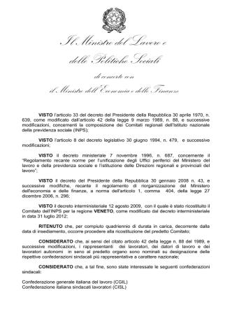 D.I. 21 gennaio 2014 - Ministero del Lavoro e delle Politiche Sociali