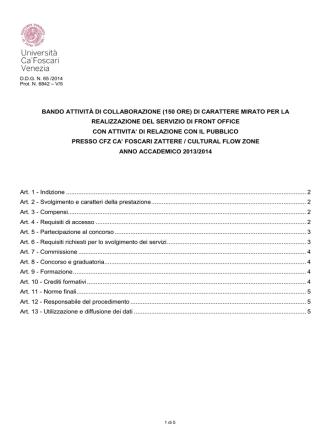 BANDO ATTIVITÀ DI COLLABORAZIONE (150 ORE