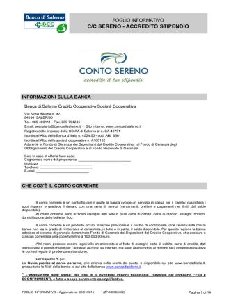 C/C SERENO - ACCREDITO STIPENDIO
