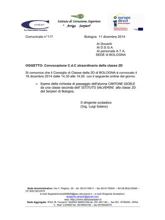 comunicato117, convocazione C.d.C. 2D di Bologna