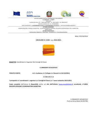 circolare nd026 del 02-10-2014 coordinatori e - Masullo
