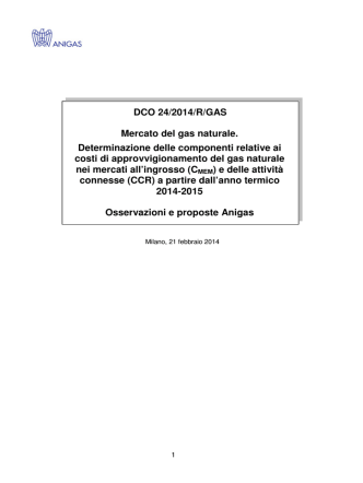 DCO 24/2014/R/GAS Mercato del gas naturale
