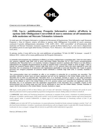 CHL S.p.A.: pubblicazione Prospetto Informativo relativo all