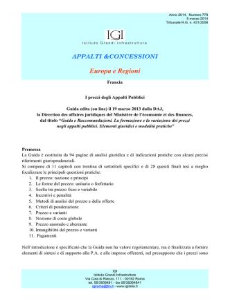 1) Francia. I prezzi degli Appalti Pubblici. Guida edita (on line)