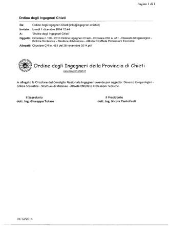 2014 Ordine Ingegneri Chieti - Circolare CNI n. 461