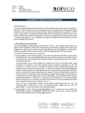 2014.11.21 - Fisco - Documenti e tempi di conservazione