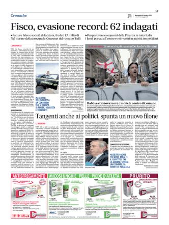 22 10 14 Il Messaggero Fisco, evasione record 62 indagati