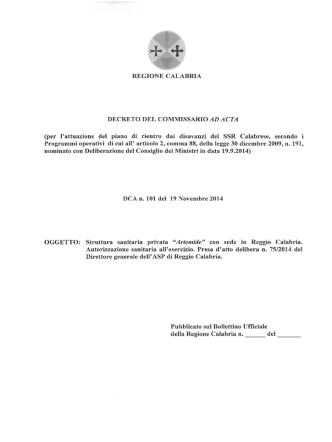 DCA n.101 del 19.11.2014 -Struttura sanitaria