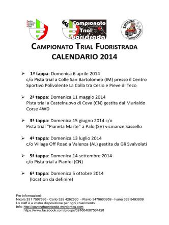 Calendario CTF 2014 - Savonafuoristrada