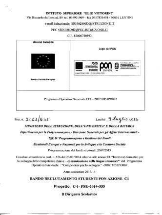 bando reclutamento alunni progetto C-1-FSE-2014-555