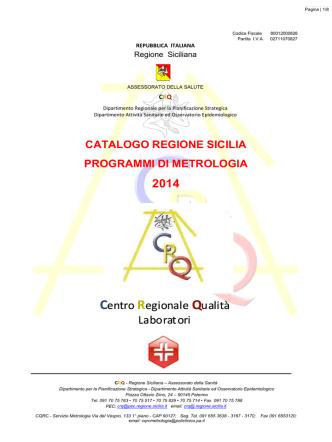 CATALOGO PROGRAMMI REGIONALI di METROLOGIA 2014