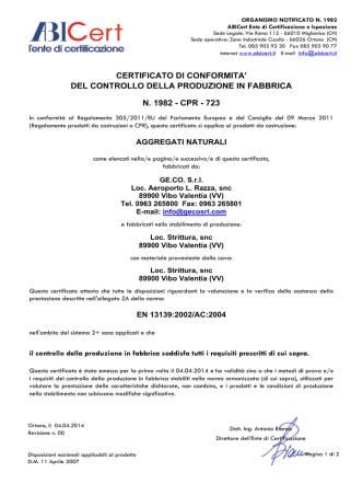 certificato inerti cava - Geco Srl Impresa Costruzioni