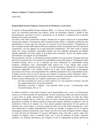 1 Imprese Artigiane e Corporate Social Responsibility Chiara Mio