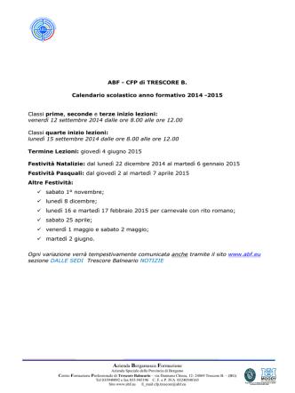 CALENDARIO CFP TRESCORE 14 15