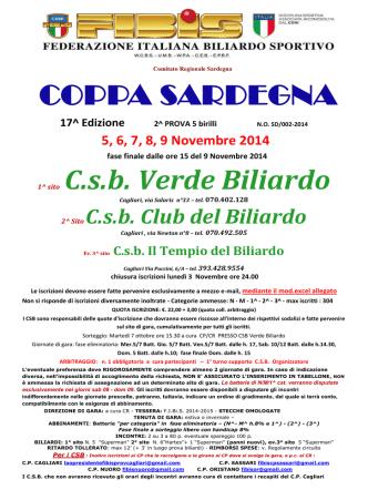 COPPA SARDEGNA 1^ sito C.s.b. Verde Biliardo