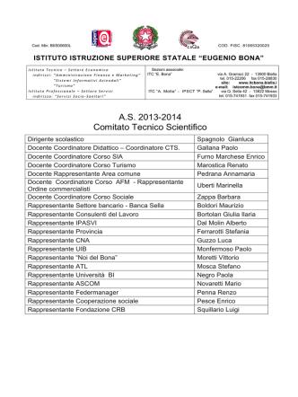 A.S. 2013-2014 Comitato Tecnico Scientifico