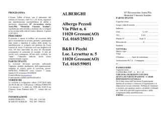 ALBERGHI Albergo Pezzoli Via Pilet n. 6 11020 Gressan(AO) Tel