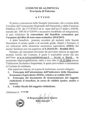 AVVI S O - COMUNE DI ALIMINUSA