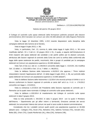 Corte dei conti Sezione regionale di Controllo per il Piemonte