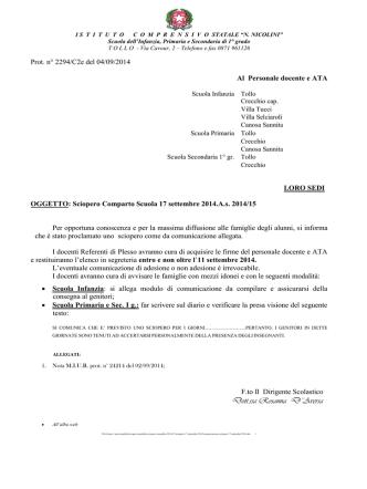Comunicazione sciopero - istitutocomprensivotollo.it