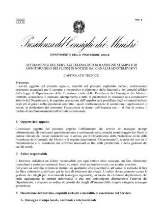 Capitolato tecnico della gara - Dipartimento della Protezione Civile