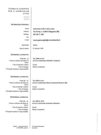 CV Dott..ssa Garavaglia Medico Competente