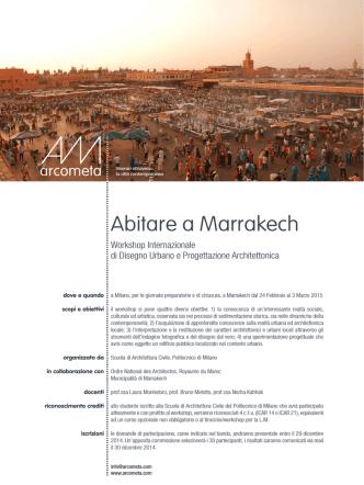 Abitare a Marrakech: Workshop Internazionale di Disegno Urbano e