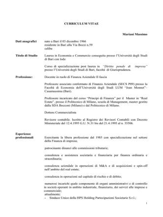 cv prof Mariani 2014  - Università degli Studi di Bari