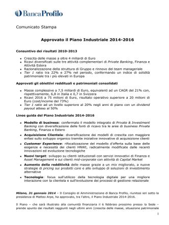 Approvato piano Industriale 2014-2016