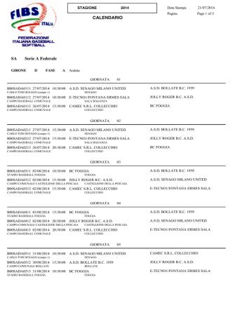 Calendario girone 1 - ASD New Black Panthers