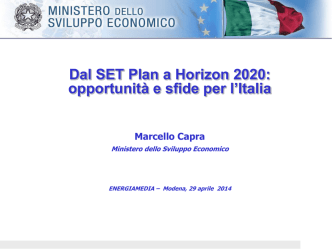 Dal SET plan a Horizon 2020: opportunità e